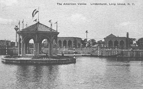 Back View American Venice. Postcard from Lindenhurst, NY